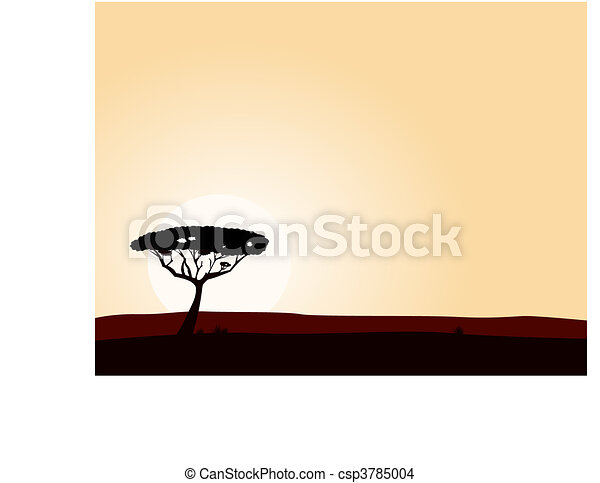 African safari background with acac - csp3785004