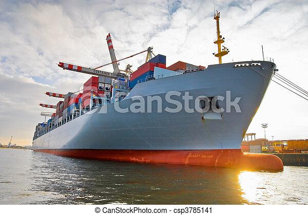 frakt, Skepp, behållare, gods - csp3785141