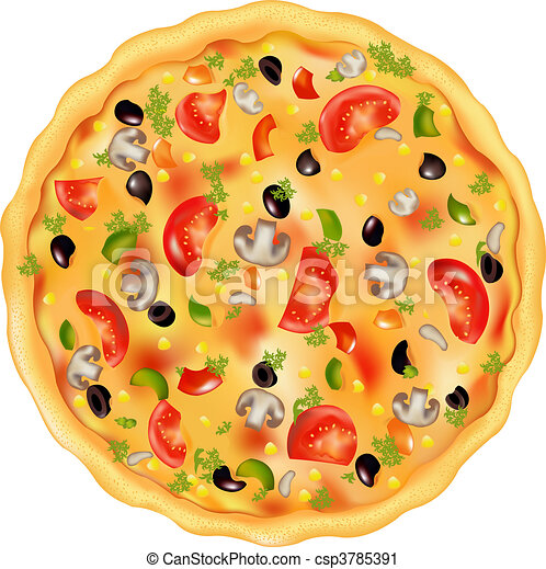 Vector Clip Art of Pizza - Freshly Baked Pizza With Mushrooms, Tomatos ...