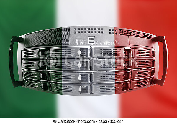 Concept Server with the Flag of Italy for use as local or country internet and hardware security image idea