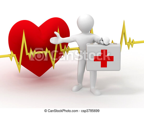 Men with medical case and heartbeat - csp3785699