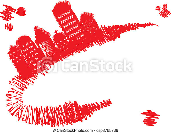 Grunge town stands on red grunge curve, vector illustration - csp3785786