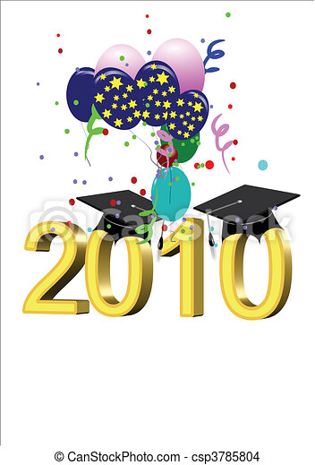 grad vector on white for 2010 - csp3785804