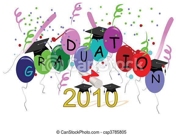 grad vector with mortar boards - csp3785805