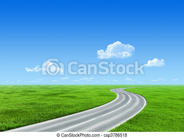 Very detailed 7000px road over grass field - nature collection - csp3786518
