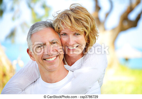 Mature couple smiling - csp3786729