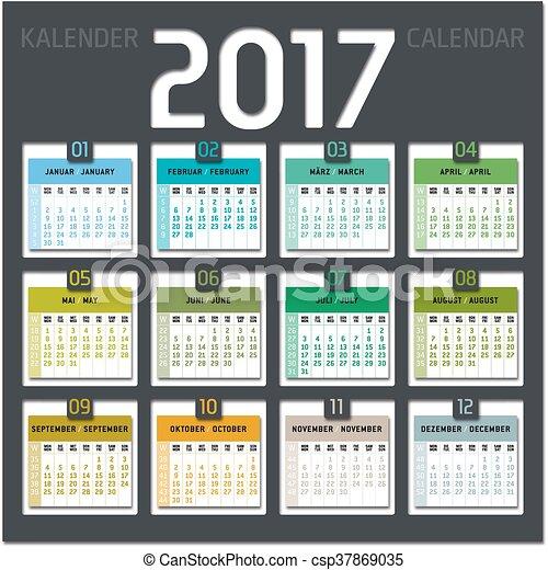 Vectors of calendar 2017 including weeks - decorative vector design ...