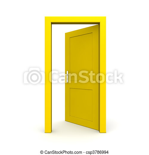 Open Single Yellow Door - csp3786994