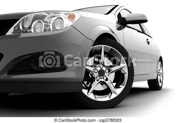 Silver car on a white background - csp3788303