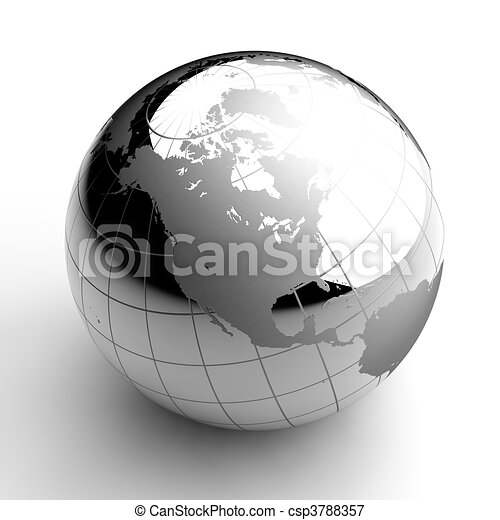 Chrome Globe on white background - csp3788357