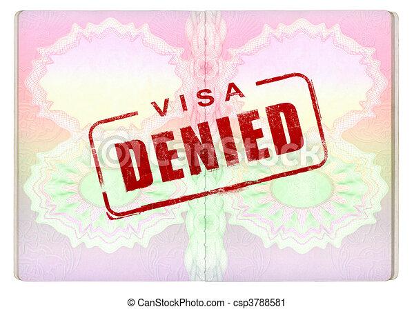 Denied Visa on Passport - csp3788581