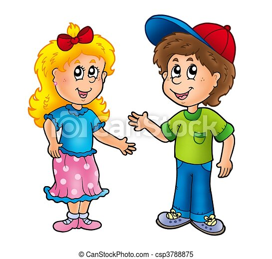 caricatura, Feliz, menina, e, Menino - csp3788875