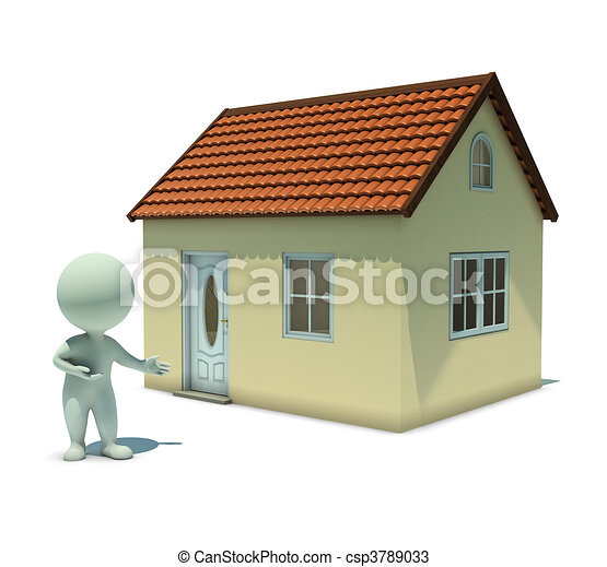 3d small people - show a home - csp3789033