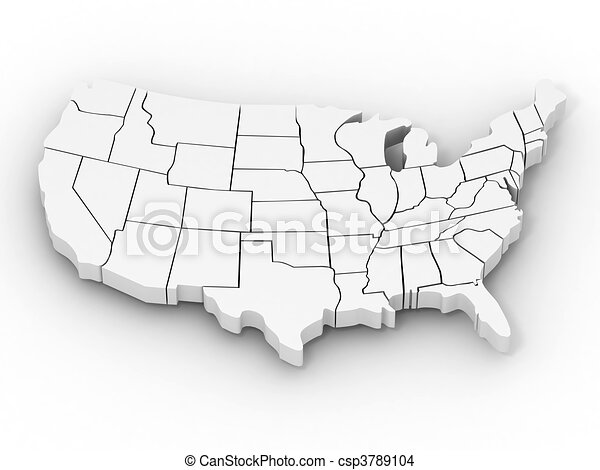 Map of USA - csp3789104