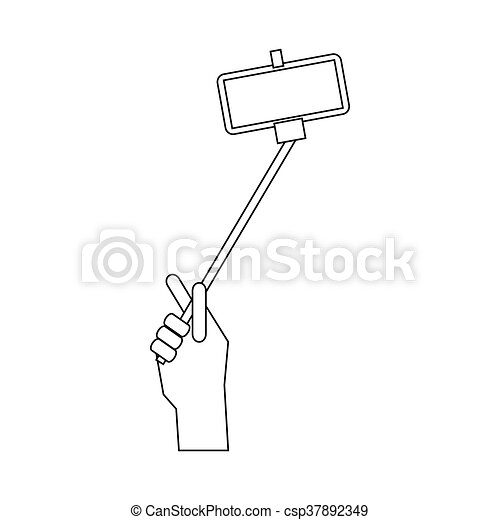 eps vector of hand holding a selfie stick icon outline style hand csp37892349 search. Black Bedroom Furniture Sets. Home Design Ideas