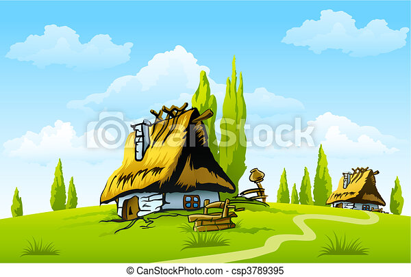 landscape with old house in the village - csp3789395