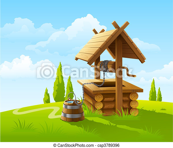 landscape with old wooden well and bucket of water - csp3789396