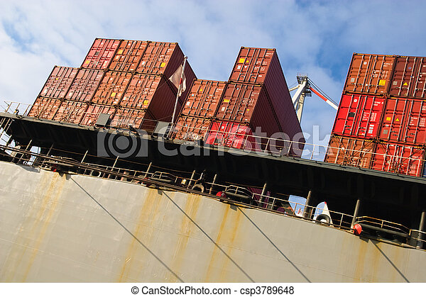 stack of cargo freight container - csp3789648