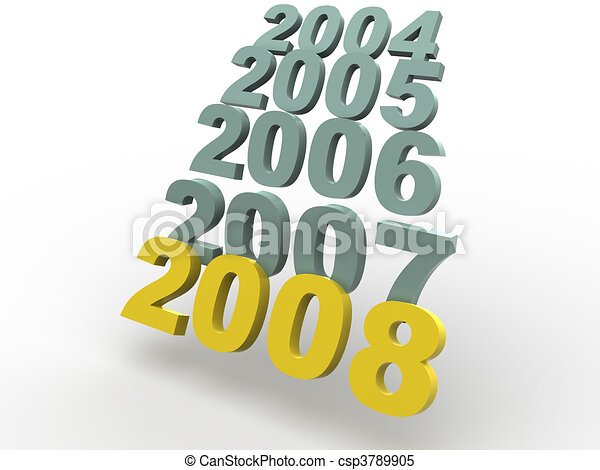 Stock Illustrations of New year 2008. 3d. illustration. csp3789905 ...