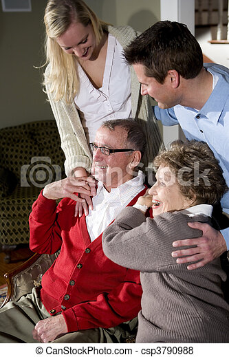 Senior couple with adult children - csp3790988