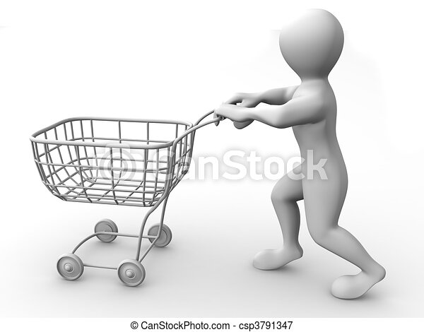 Man With Consumer Basket - Royalty Free Clip Art - csp3791347