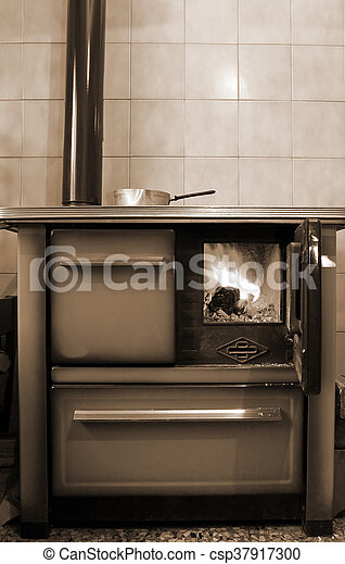 wood-burning stove in the kitchen of mountain home