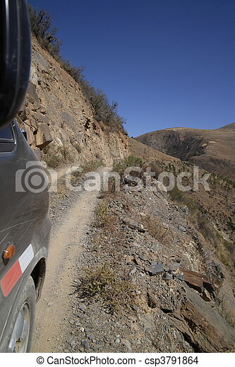 Dangerous very narrow road in Peru - csp3791864
