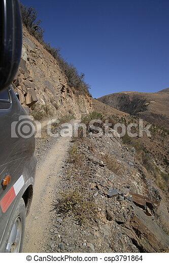 Dangerous very narrow road in Peru - csp3791864