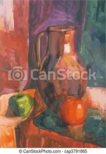 still life watercolor - csp3791865