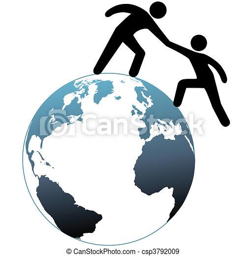 Helper reach out helps friend up top of world - csp3792009
