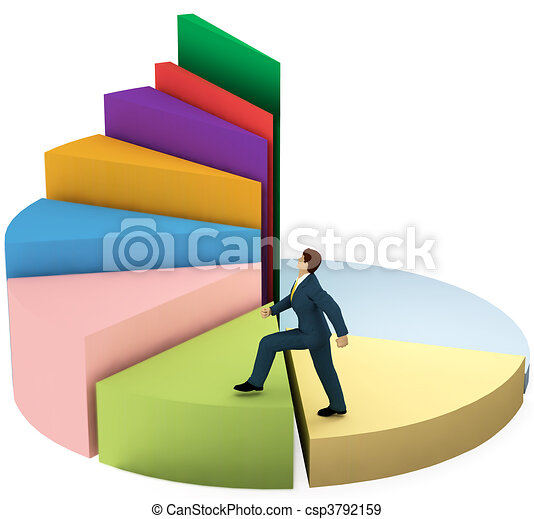 Business man climbs up growth pie chart stairs - csp3792159