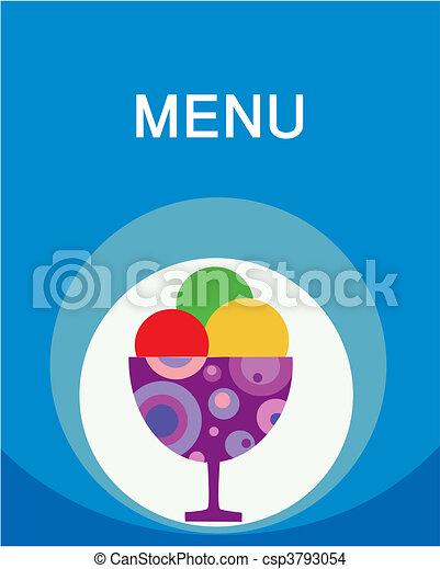 colorful tasty ice-cream and milk shake menu template - csp3793054