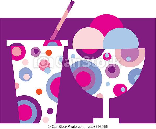 colorful tasty ice-cream and milk shake - 1  - csp3793056