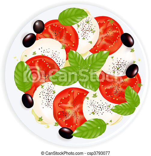 Caprese Salad With Mozzarella, Basil, Black Olives, Olive Oil And Black Pepper On Plate, Isolated On White - csp3793077
