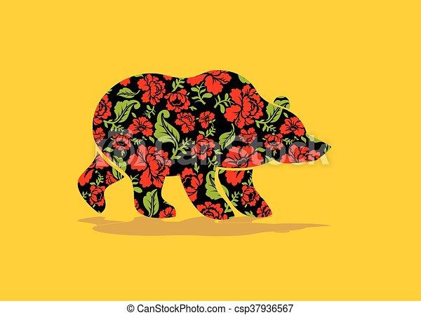Gemälde clipart  Clip Art Vektor von national, bär, symbol, russische, flowers ...