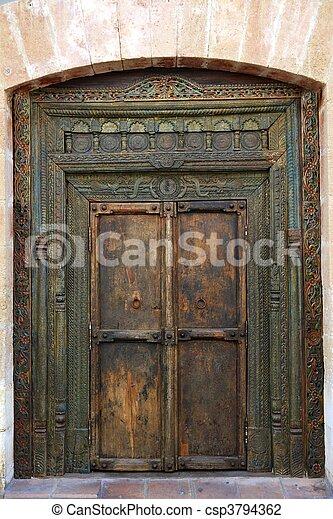 ancient eastern indian wooden door - csp3794362