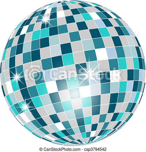 Disco ball in green tones isolated - csp3794542