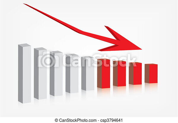 Graph showing decline - csp3794641