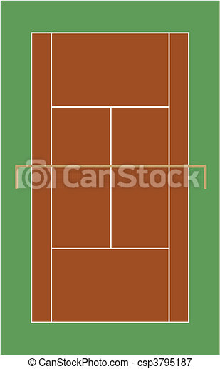 tennis court field in clay - csp3795187