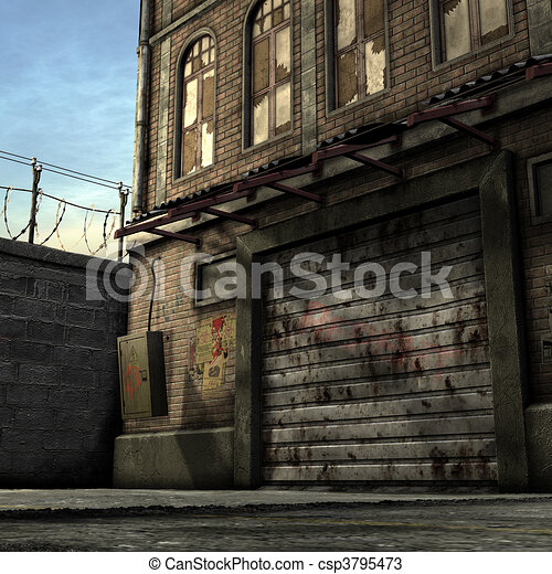 Dead End Alley Scene - csp3795473