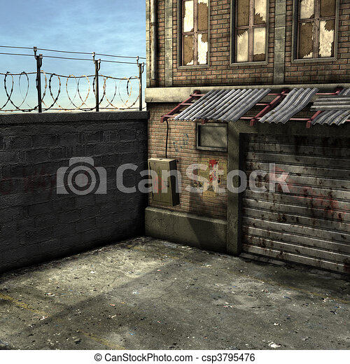 Dead End Alley Scene - csp3795476
