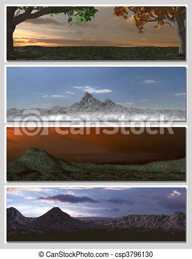 four different fantasy landscapes for banner, background or illustration. with clouds, mountains and sunset - csp3796130