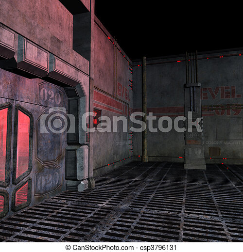 dark and scary place in a scifi setting. 3D rendering and shadow over white - csp3796131