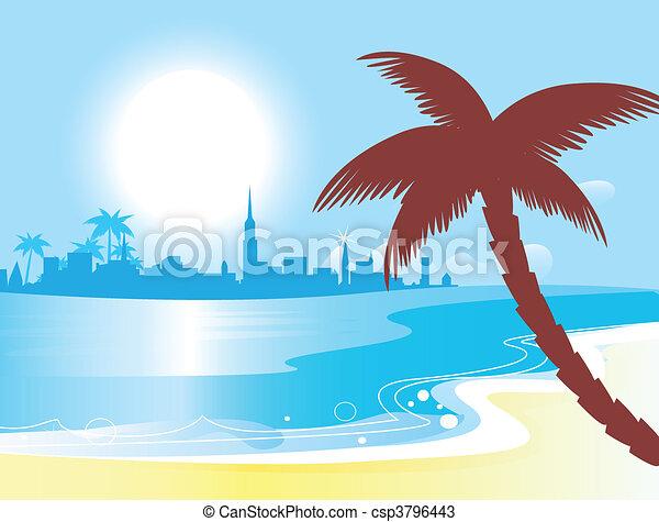 Sunny blue ocean landscape vector - csp3796443