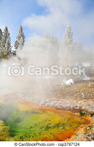 Vivid hot spring in Yellowstone - csp3797124