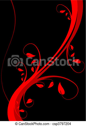 Astylized floral vector background design on a black backdrop with room for text - csp3797204