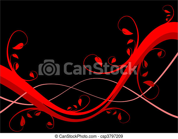 An abstract sytylized floral background illustration with a horizontal red floral design on a black background with room for text - csp3797209
