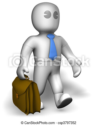 Clip Art of A busy manager walking with suitcase csp3797352 ...