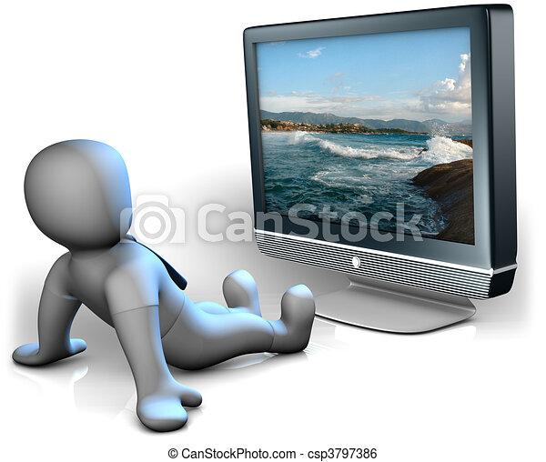 Stock Illustration of TV watching - A man watching a big TV csp3797386 ...
