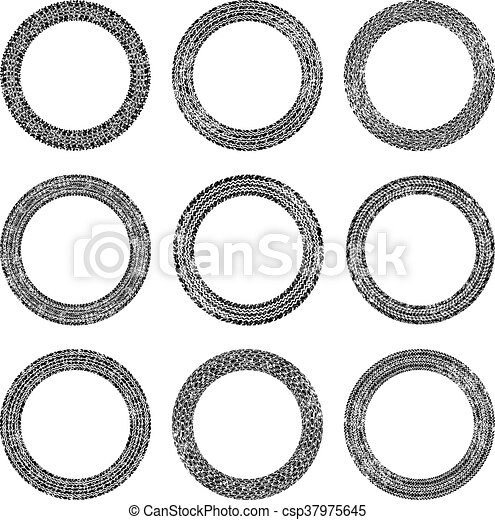 Set of nine round vector frames in tire traces style - csp37975645